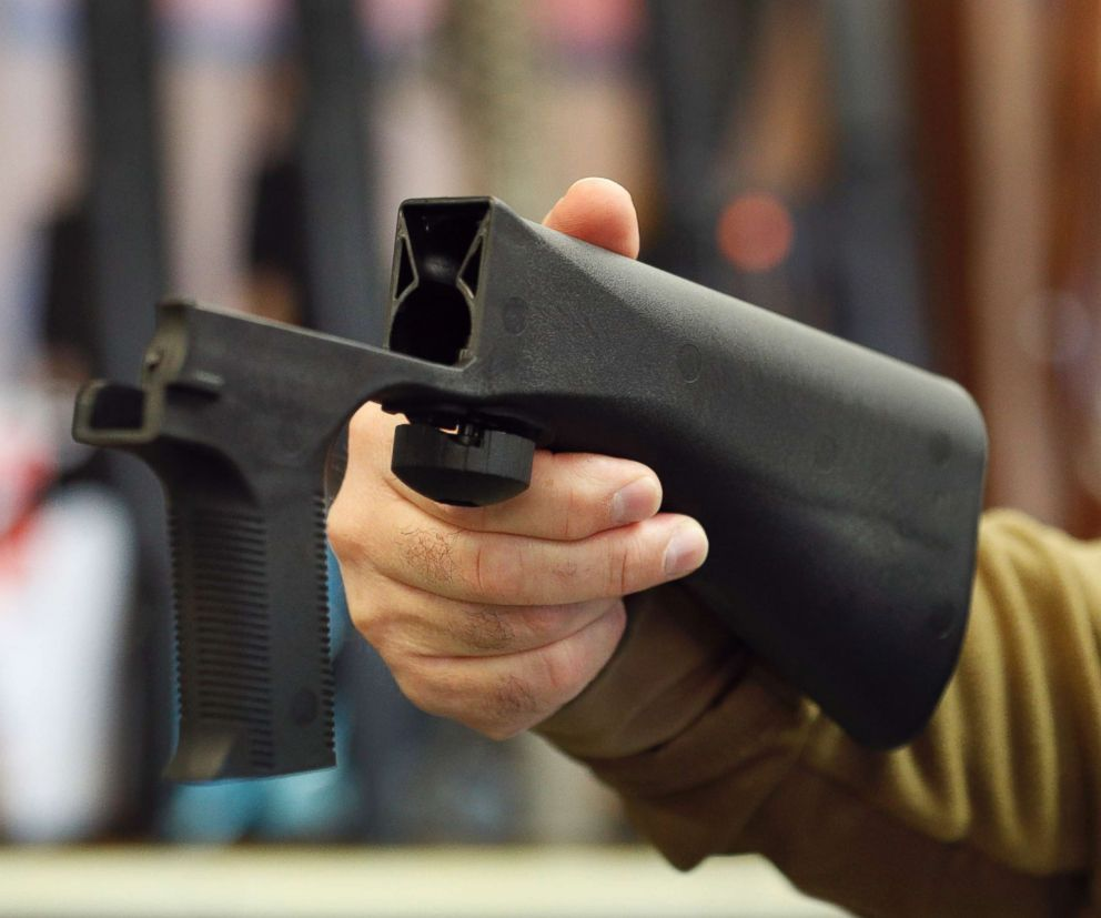 PHOTO: A bump stock device that fits on a semi-automatic rifle to increase the firing speed, making it similar to a fully automatic rifle, is shown here at a gun store, Oct. 5, 2017, in Salt Lake City, Utah.