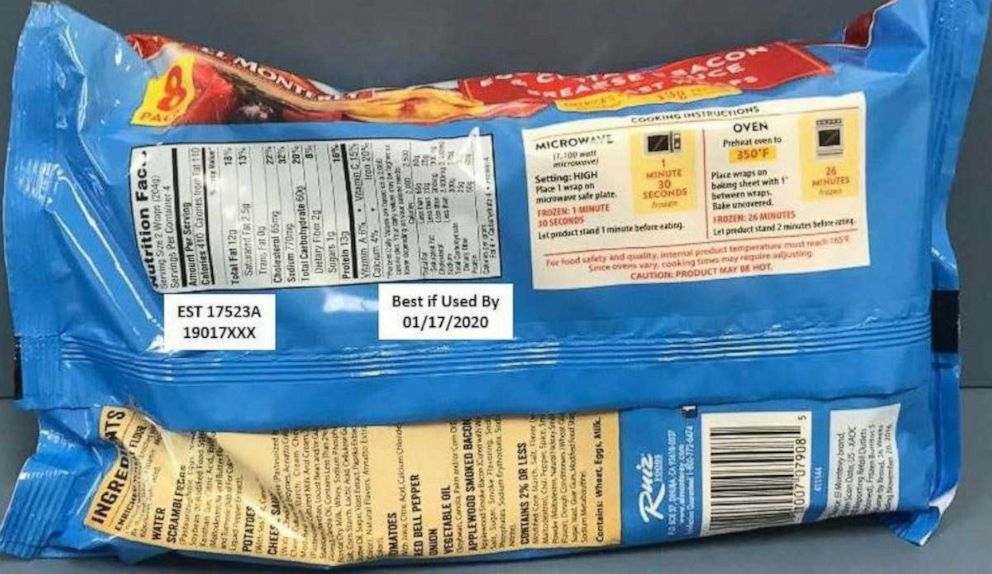 El Monterey breakfast wraps recalled because they may contain small rocks