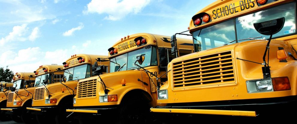 PHOTO: A Line of school buses is seen in this undated stock image.