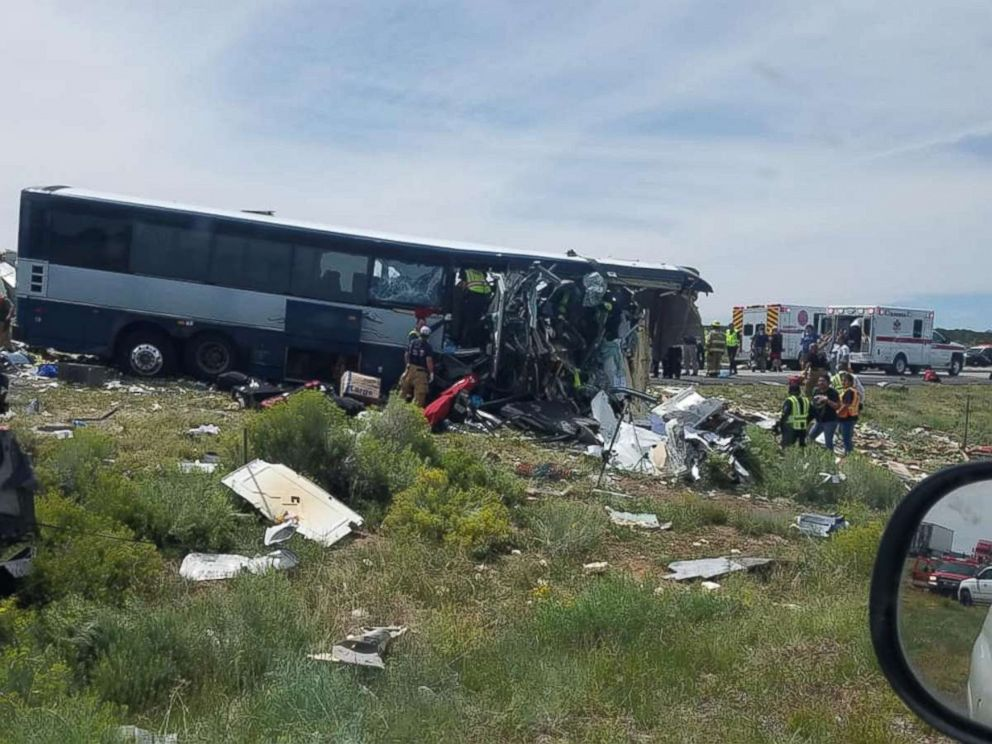 PHOTO: A bus and semi-truck crashed into each other on Interstate 40 in Thoreau, N.M., Aug. 30, 2018.