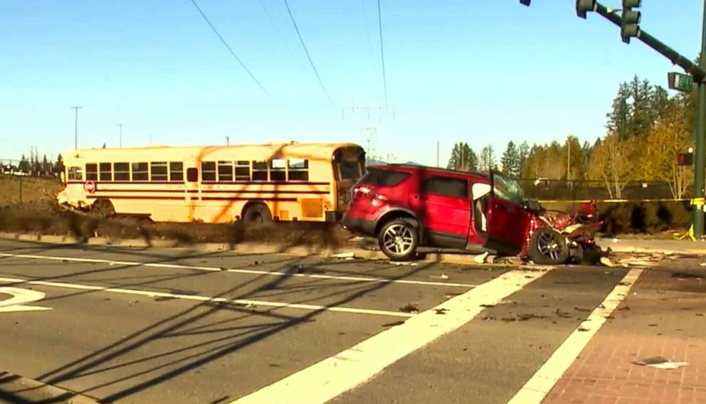An image made from video shows the aftermath of a school bus accident in Covington, Wash., March 18, 2019.