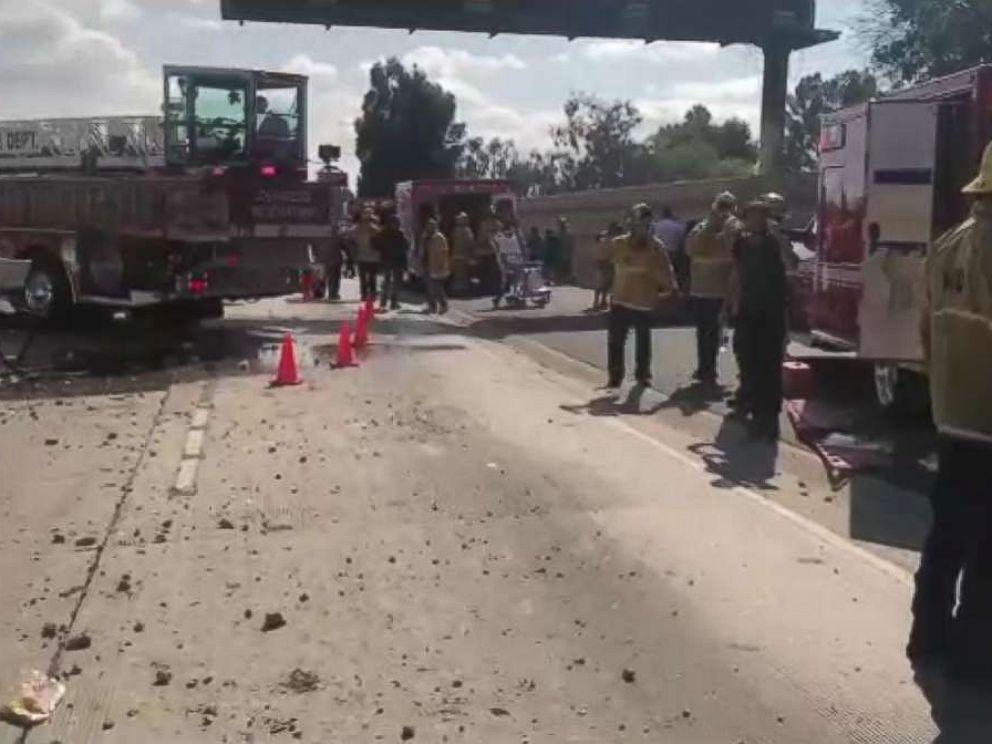 Over 2 dozen injured as bus plows into car on LA freeway