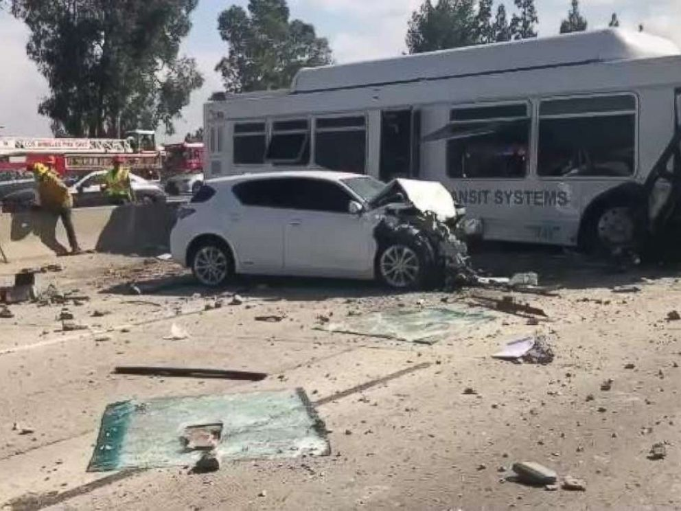 Over 2 dozen injured as bus plows into car on Los Angeles