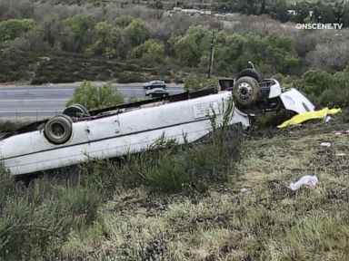 At least 3 die in California bus rollover