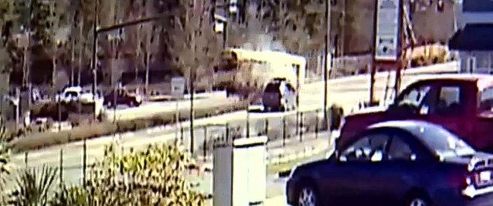 PHOTO: An image made from surveillance video shows a crash between a school bus and an SUV in Covington, Wash., March 18, 2019.