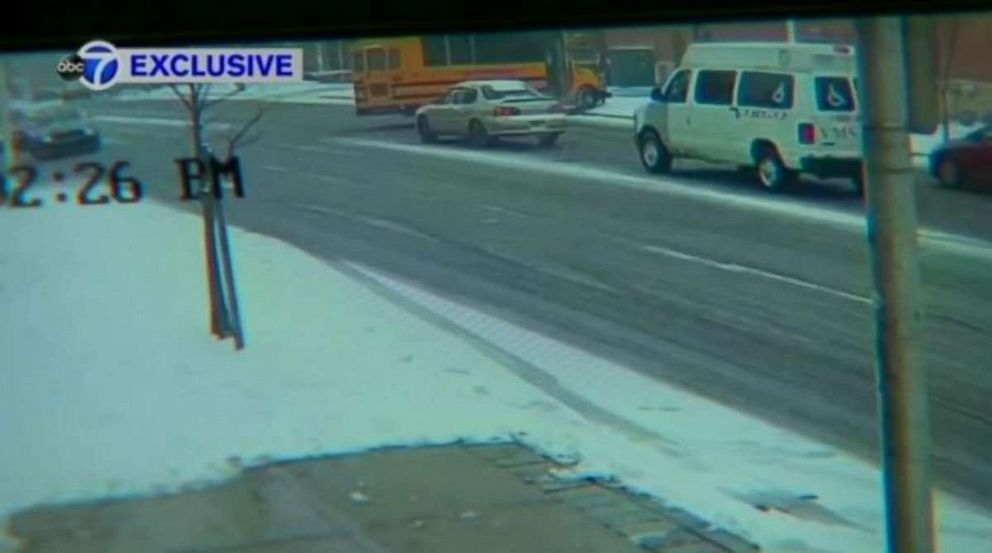 PHOTO: Surveillance video obtained by New York ABC station WABC shows the bus driven by Lisa Byrd rolling through an intersection and into a tree in Newark, N.J., on Wednesday, Feb. 21, 2019.