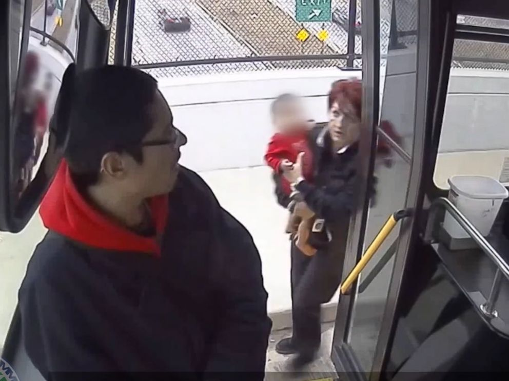 Video shows bus driver rescuing baby wandering alone near road
