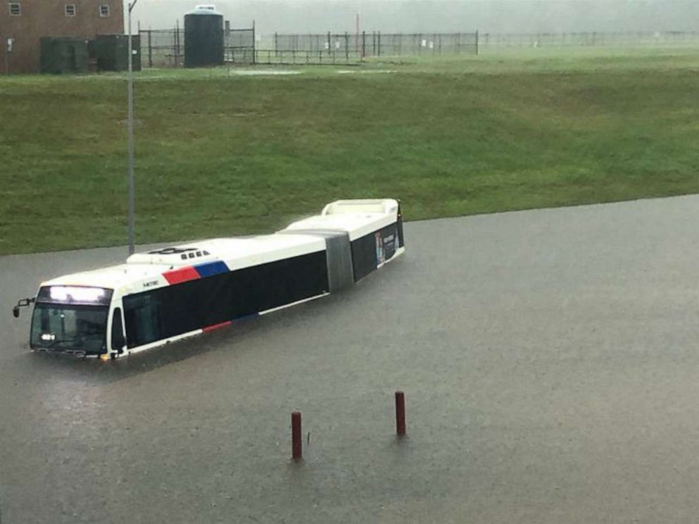 PHOTO: In a photo obtained from social media, a bus is shown stuck in floodwaters at the Houston airport, Sept. 18, 2019.