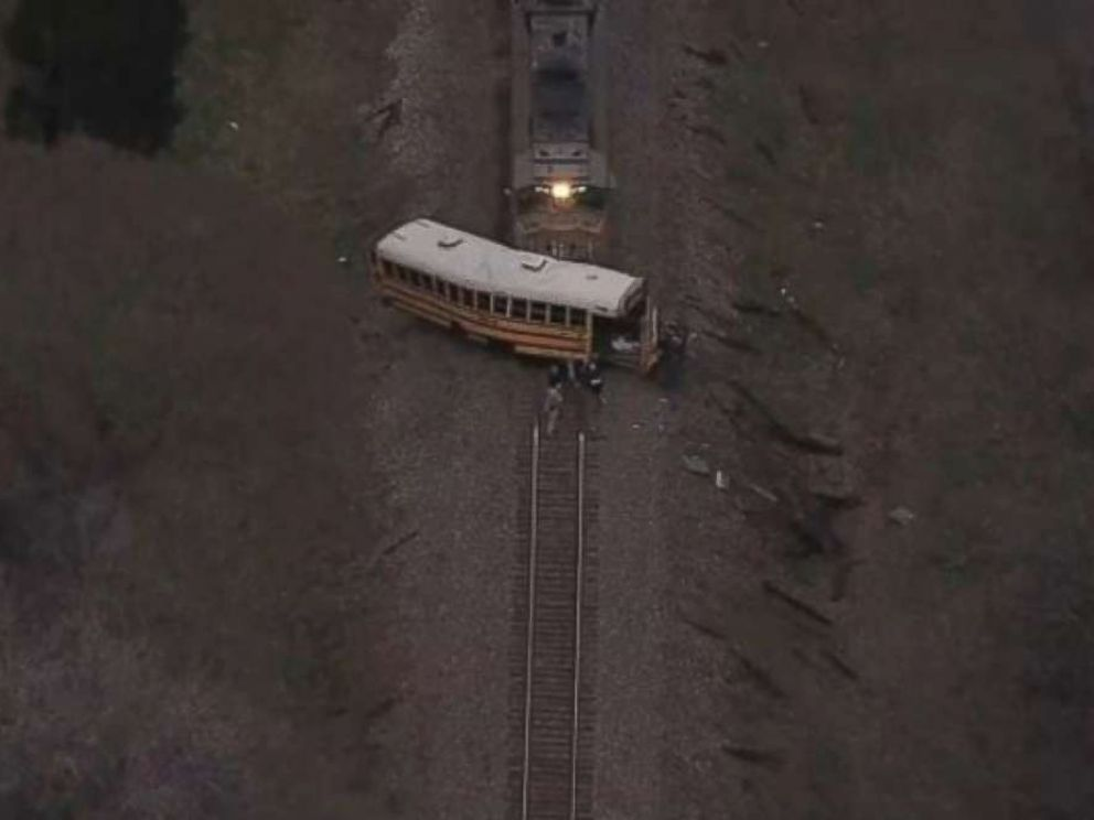 PHOTO: A 13-year-old middle school student was killed and a 9-year-old elementary school student critically injured when a train slammed into a bus in Athens, Texas, on Friday, Jan. 25, 2019.
