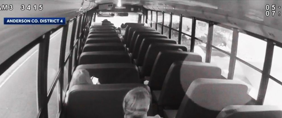 PHOTO: Newly released video from a May incident shows an unnamed Anderson County Sheriff's Office deputy driving past a parked bus and grazing Pendleton High School student Jordan Reyes.