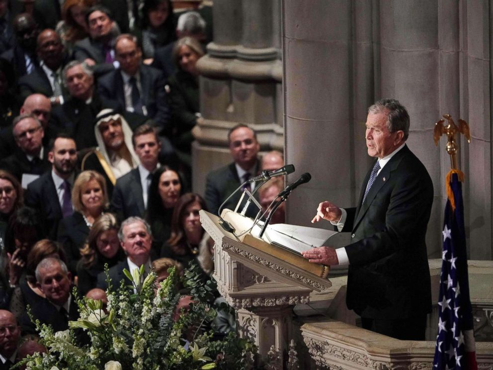 PHOTO: Former President George W. Bush speaks during the funeral service for his father, former President George H. W. Bush at the National Cathedral in Washington, D.C., Dec. 5, 2018.