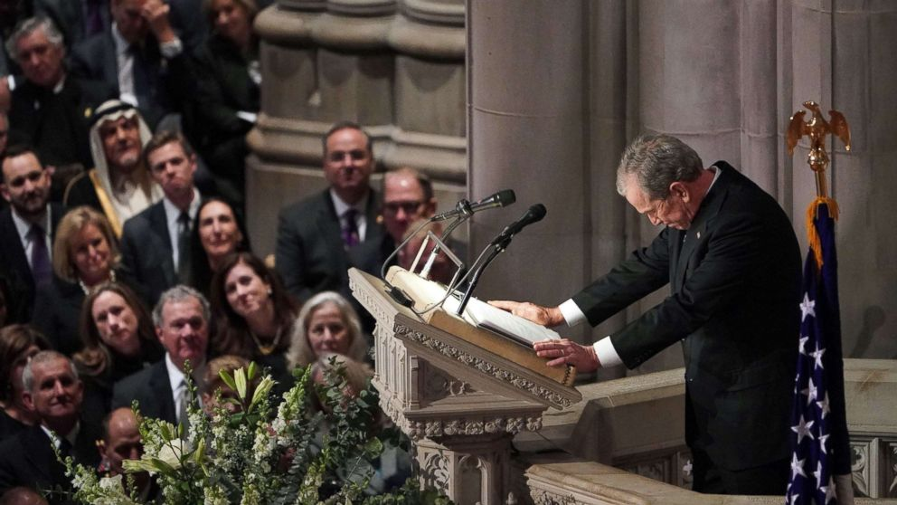 Former President George W. Bush speaks during the funeral service for his father, former President George H. W. Bush at the National Cathedral in Washington, D.C., Dec. 5, 2018.