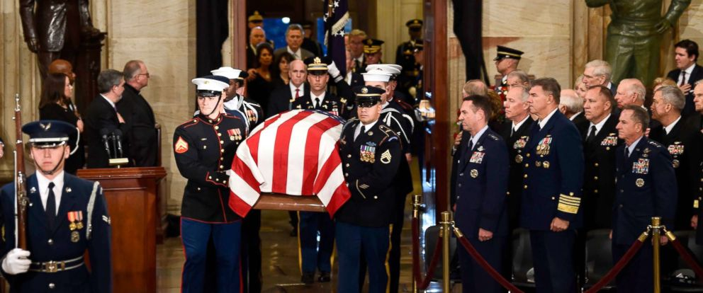 PHOTO: The casket bearing the remains of former US President George H.W. Bush arrives at the US Capitol during the State Funeral in Washington, DC, Dec. 3, 2018.