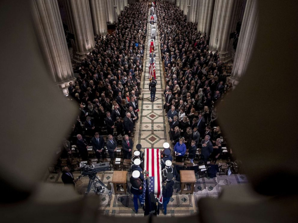 PHOTO: The flag-draped casket of former President George H.W. Bush arrives for a State Funeral at the National Cathedral, Dec. 5, 2018 in Washington, D.C.