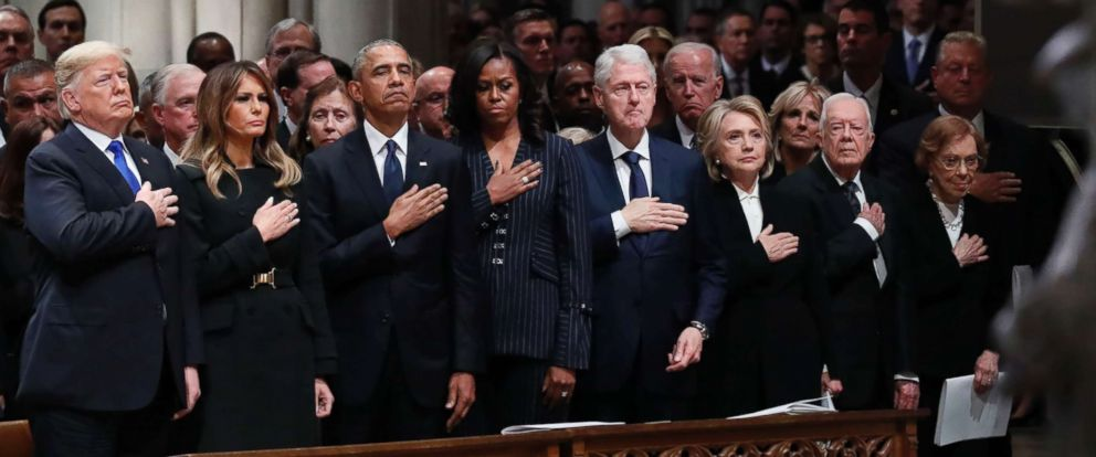 PHOTO: Presidents and first ladies stand at the funeral of former President George H. W. Bush at the Washington National Cathedral, Dec. 5, 2018 in Washington, D.C.