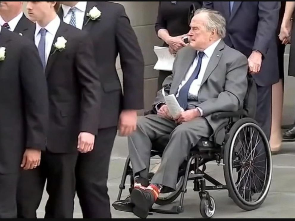 PHOTO: President George H.W. Bush wore book-themed socks created by a young entrepreneur with Down syndrome to his wifes funeral to honor her charity work.
