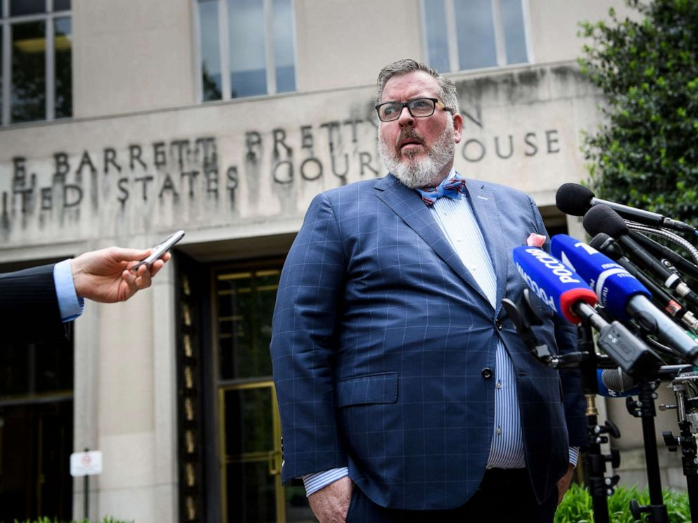 PHOTO: Robert Driscoll, a lawyer for Russian national Maria Butina, speaks to reporters about her sentencing for spying for Russia, outside US District Court on April 26, 2019, in Washington.