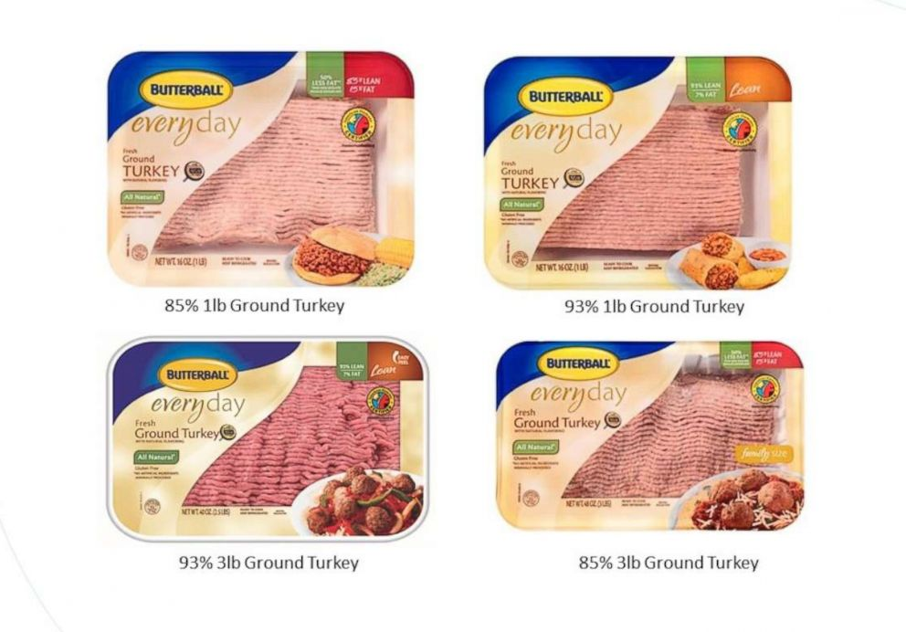Some Butterball ground turkey products involved in a voluntary recall are pictured in an image released by the company on March 13, 2019.