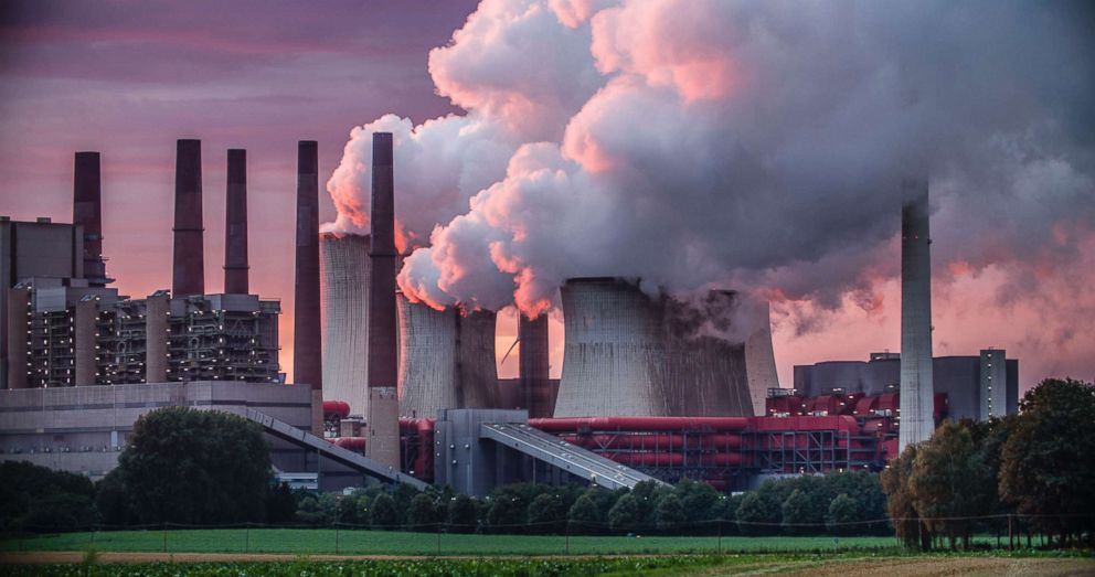 PHOTO: Chimneys and cooling tower of a coal fired power station are pictured in this undated stock photo.