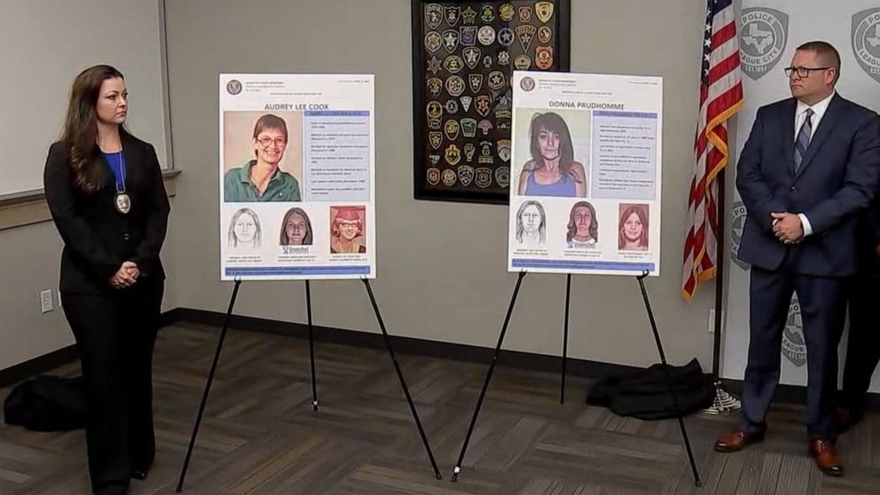 Police investigators announced the identification of two women whose bodies were found decades ago in League City, Texas, in a press conference on April 15, 2019.
