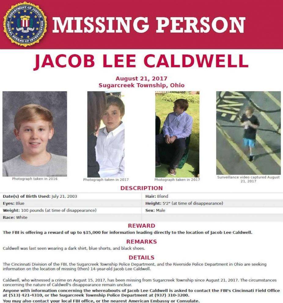A missing poster of Jacob Caldwell.