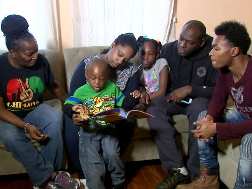 PHOTO: Caleb Green, 4, and his family celebrate his reading 100 different books in a day.