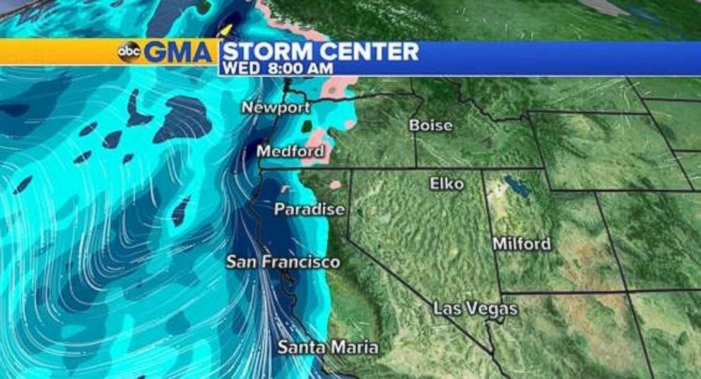 PHOTO: Much-needed rainfall will arrive in California late Tuesday, but the threat for mudslides is possible, too.
