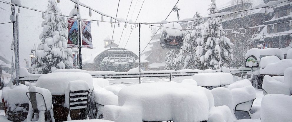 PHOTO: This Friday, Feb. 15, 2019, photo released by Heavenly Mountain Resort shows snow covering chairs and ski equipment at Heavenly Mountain Resort near South Lake Tahoe, Calif.