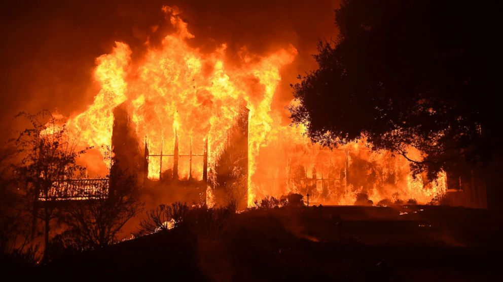 The main building at Paras Vineyards burns in the Mount Veeder area of Napa in California, Oct. 10, 2017.