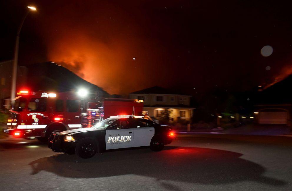 PHOTO: A Murrieta police department vehicle drives across Single Oak Way as he issues a mandatory evacuation in Murrieta, Calif., Sep 4, 2019.