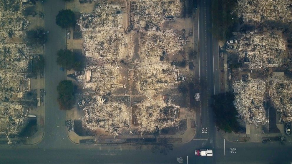 This aerial image shows a neighborhood that was destroyed by a wildfire in Santa Rosa, Calif., Oct. 10, 2017.