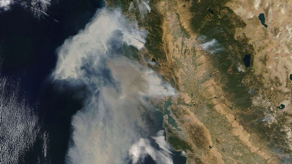 An image acquired by the Moderate Resolution Imaging Spectroradiometer (MODIS) instrument on NASA's Terra satellite shows smoke billowing from the fires in northern California, Oct. 9, 2017.