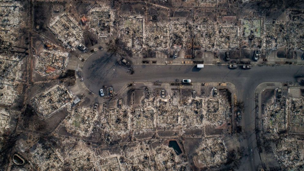 An aerial view of homes burned by wildfire in the Coffey Park neighborhood of Santa Rosa, Calif., Oct. 10, 2017.
