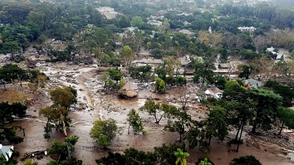 Mudflow and damaged homes in Montecito, Calif., Jan. 10, 2018.