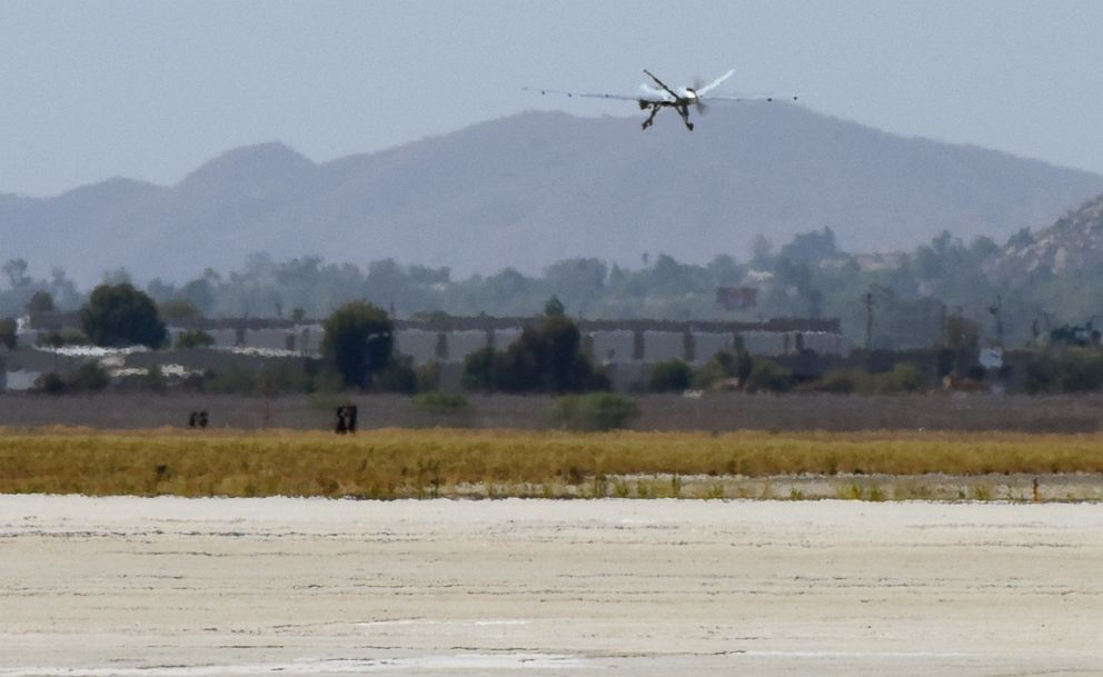 An MQ-9 Reaper remotely piloted aircraft takes off from March Air Reserve Base, California, Aug. 1, 2018, to provide visualization and mapping data to firefighters battling deadly fires in Northern California.