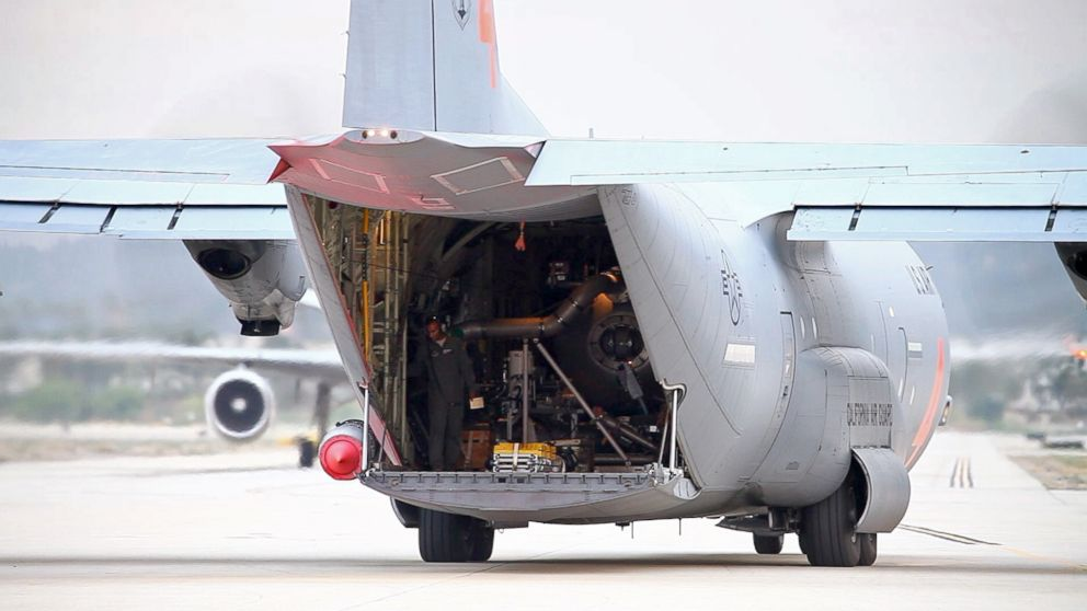 A modular airborne firefighting system equipped C-130J Hercules aircraft after a stop to reload with fire retardant at the U.S. Forest Service San Bernardino Airtanker Base, in San Bernardino, California, Aug. 8, 2018.