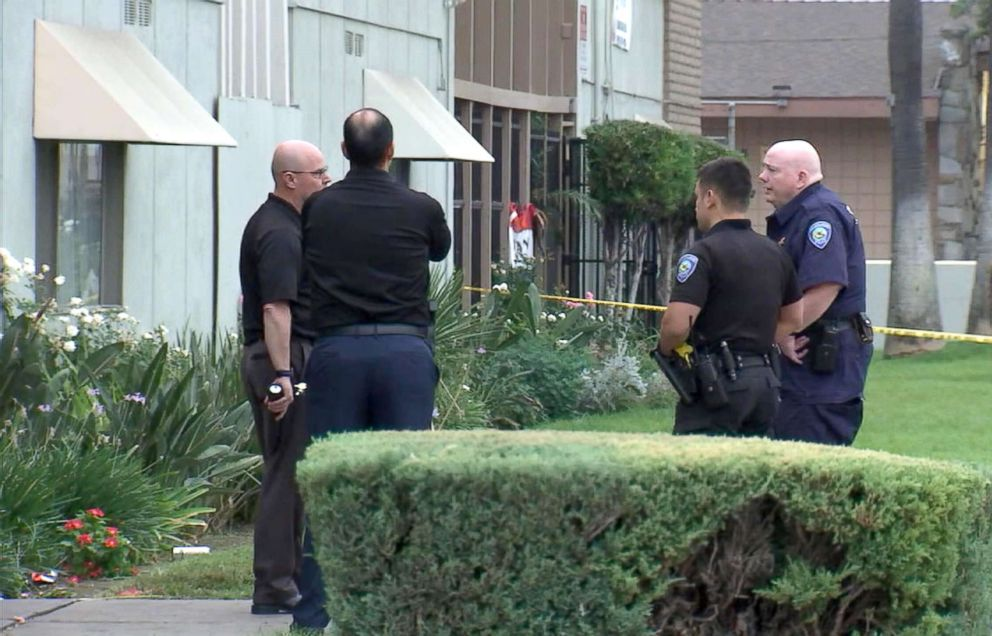 PHOTO: Eight people, including a 17-year-old, were shot and wounded, Sept. 2, 2018, in an exchange of gunfire at an apartment complex in San Bernardino, Calif., authorities said.