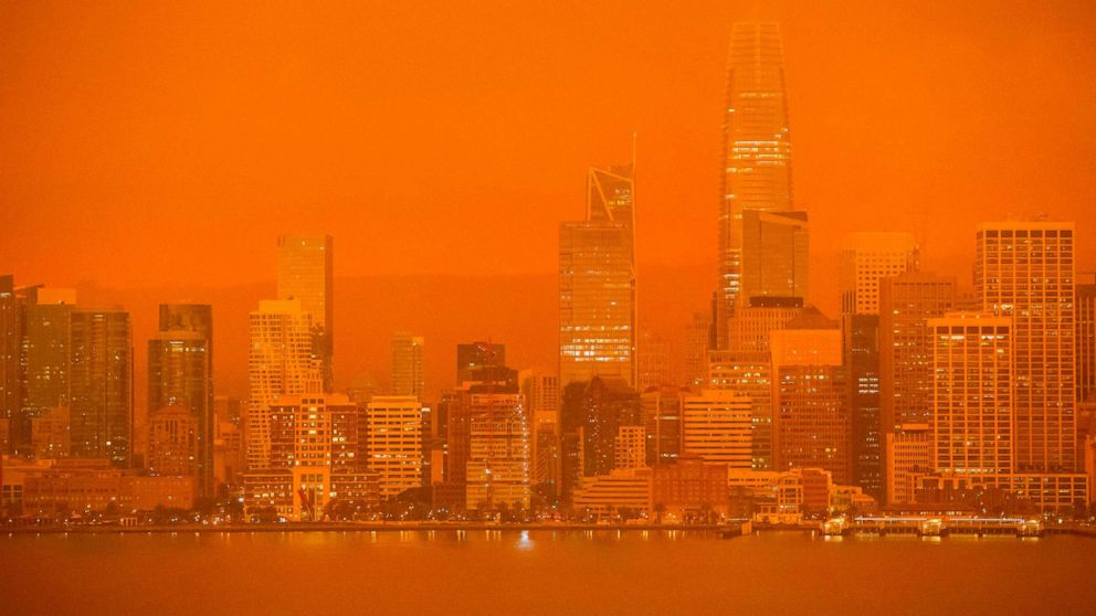 PHOTO: The San Francisco skyline is obscured in orange smoke and haze as their seen from Treasure Island in San Francisco, Calif., on Sept. 9, 2020.