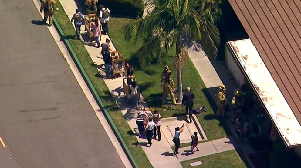 PHOTO: People are evacuated after a building explosion in Aliso Viejo, Calif., May 15, 2018.