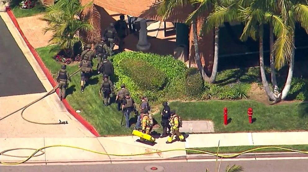 PHOTO: Firefighters and first responders at the scene of an explosion in Aliso Viejo, Calif., May 15, 2018.