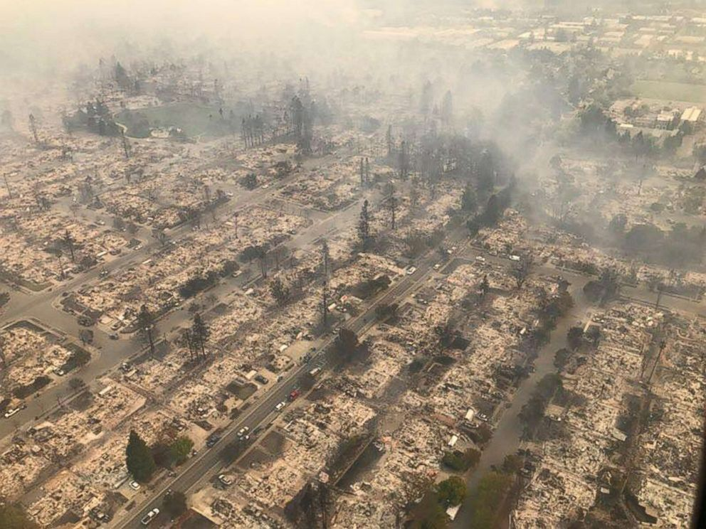 PHOTO: An aerial image of a destroyed neighborhood in Santa Rosa, Calif., Oct. 9, 2017.