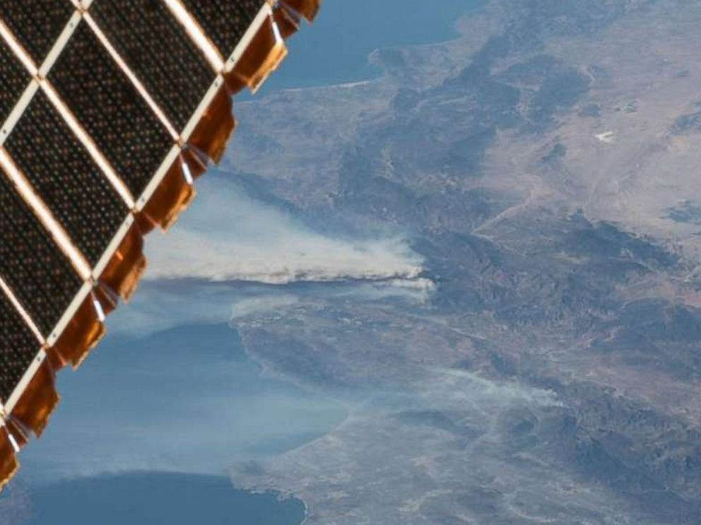 PHOTO: Astronauts on the International Space Station took photos of the smoke from the Southern California wildfires affecting the Los Angeles area on the week of Dec. 4, 2017.