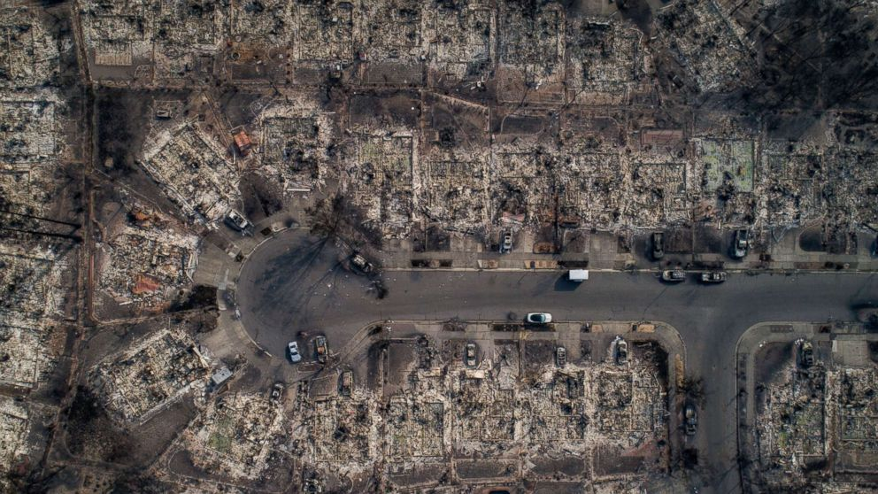 An aerial view of homes burned by wildfire in the Coffey Park neighborhood of Santa Rosa, Calif., Oct. 10, 2017. Fires charred countless acres in California's wine country.