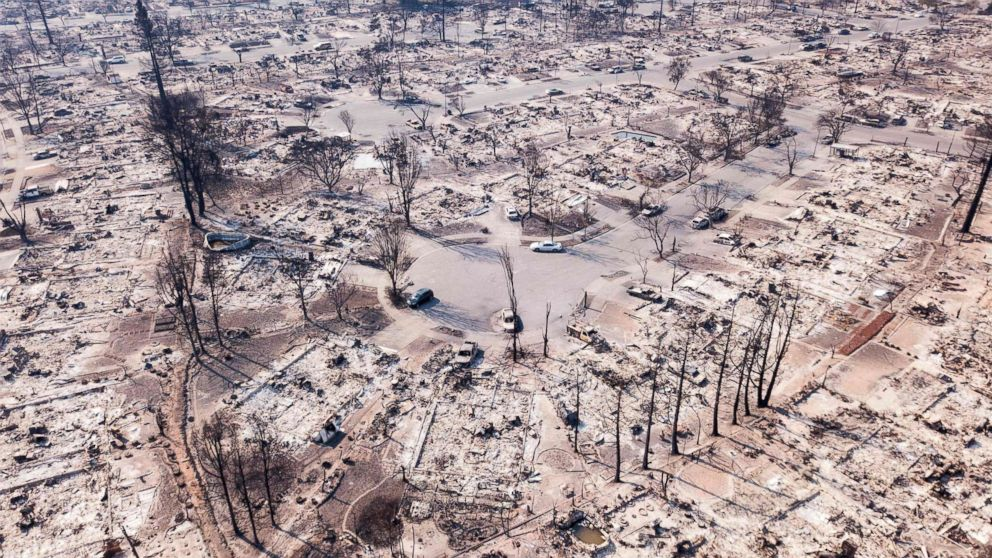 Fire damage is seen from the air in the Coffey Park neighborhood in Santa Rosa, Calif, Oct. 11, 2017. More than 200 fire engines and firefighting crews from around the country were being rushed to California to help battle the fires.