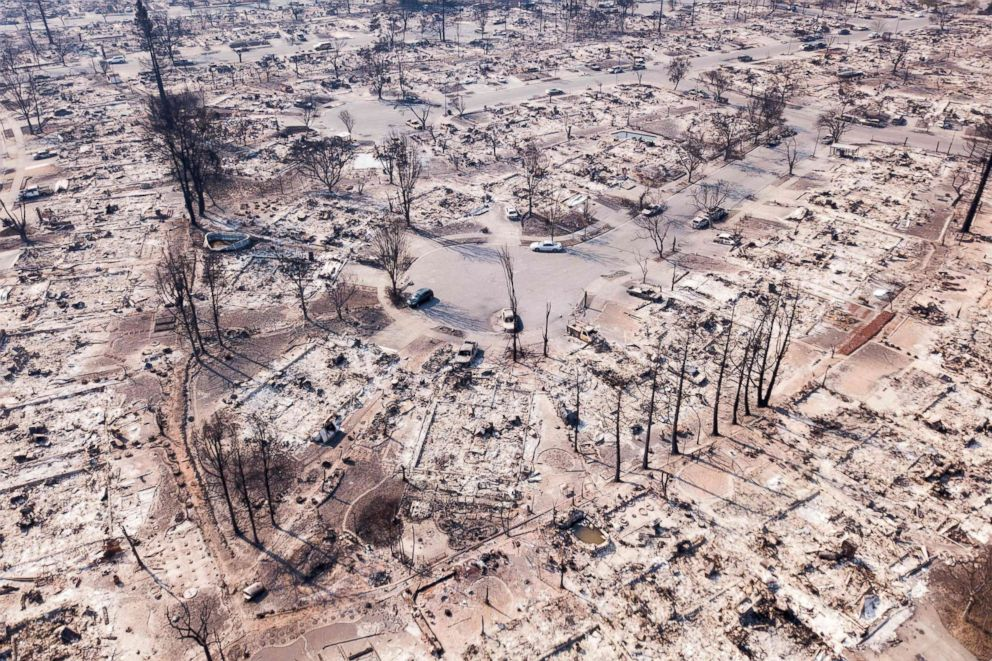 Fire damage is seen from the air in the Coffey Park neighborhood in Santa Rosa, Calif, Oct. 11, 2017.