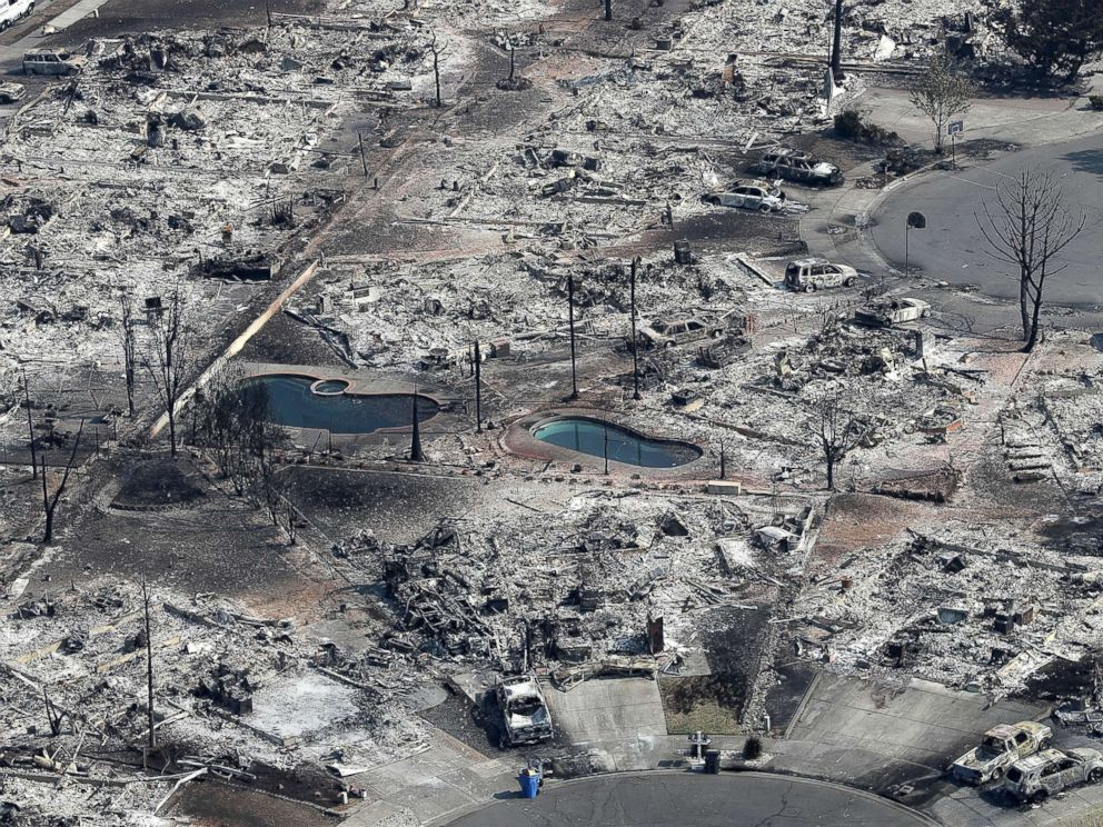 PHOTO: Thousands of homes and businesses that were destroyed by the Tubbs fire in Santa Rosa, Calif., Oct. 11, 2017.