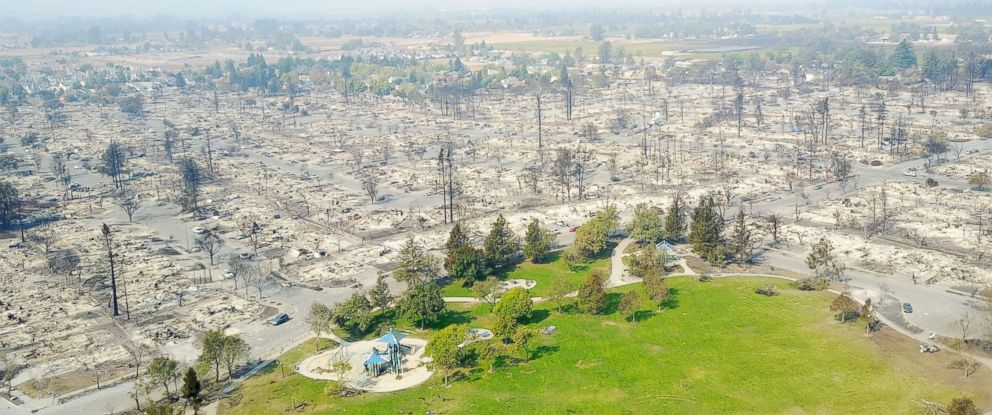 PHOTO: Damage caused by wildfires in Santa Rosa, Calif., Oct. 11, 2017.