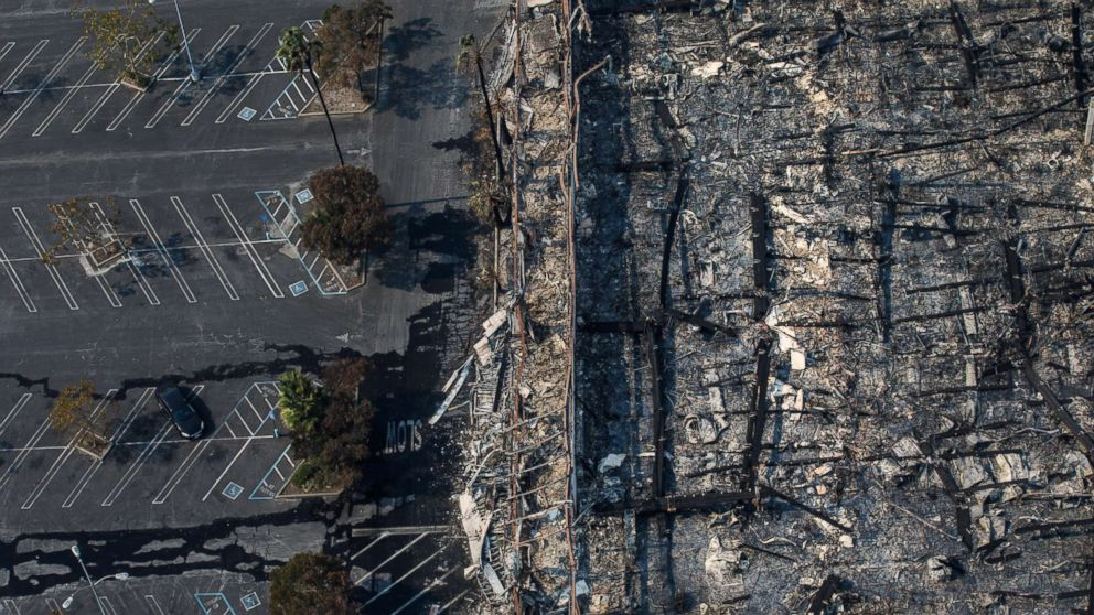 An aerial view of a K-Mart destroyed by the wildfire along the 101 freeway in Santa Rosa, Calif., Oct. 11, 2017.