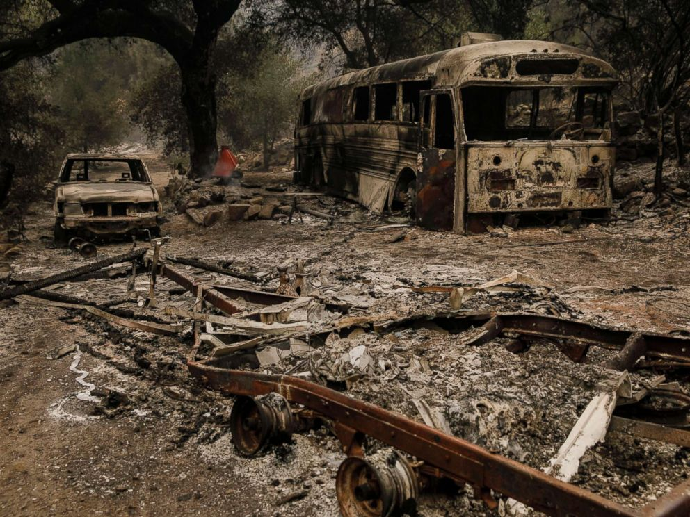 PHOTO: The remnants are seen after brush fire swept through residential neighborhoods on Maripoca Highway near Ojai, Calif., Dec. 8, 2017.