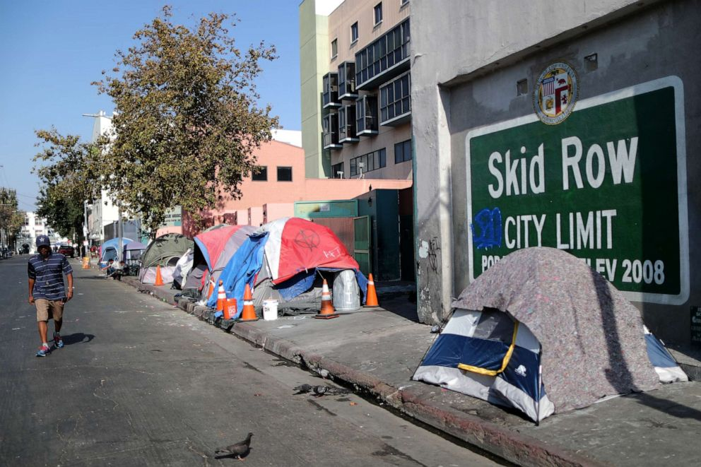PHOTO: A man walks on Skid Row in Los Angeles, Oct. 14, 2019.